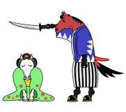 Horse samurai and horse girl. In kimono vector illustration