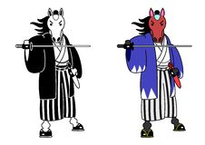 Horse samurai. With sword,two patterns royalty free illustration