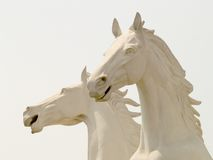 Horse Sculpture. A sculpture of two white horses Stock Photo
