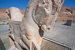 Horse sculpture from broken palace in Persepolis Royalty Free Stock Images