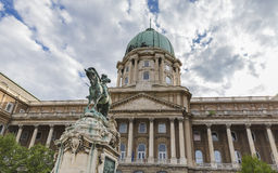 Horse sculpture - a monument to Prince Eugene of Savoy and the f. Ormer royal residence in Budapest Stock Photos