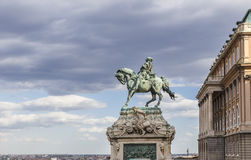 Horse sculpture - a monument to Prince Eugene of Savoy and the f. Ormer royal residence in Budapest.Traveling Royalty Free Stock Photos