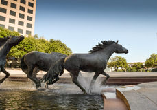 Horse sculptures at office building Royalty Free Stock Photos