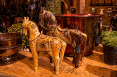 Horse sculptures. A pair of carved wooden toy horse sculptures Royalty Free Stock Photo