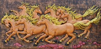 Horse sculptures. Use to decorate on the wall. Stock Photo
