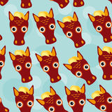 Horse Seamless pattern with funny cute animal face on a blue bac Stock Images