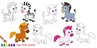 Horse set cartoon. Page to be colored. Royalty Free Stock Image