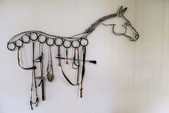 Horse shape decoration made by bridle Stock Photo
