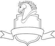 Horse and Shield. Horse head profile with shield and banner  illustration Royalty Free Stock Photo