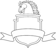 Horse Shield Banner. Horse head profile with shield and banner  illustration Stock Photos
