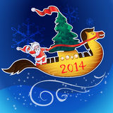 Horse-ship and santa. Santa with a Christmas tree on a flying ship-horse Royalty Free Illustration