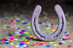 Horse shoe as talisman for new year Stock Photo