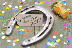 Horse shoe as talisman for new years 2017 Royalty Free Stock Images