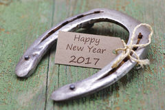 Horse shoe as talisman for new years 2017 Royalty Free Stock Photos