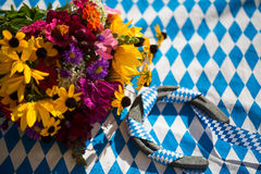 Horse shoe with Autumnal arrangement Stock Photos