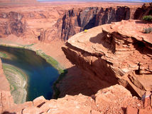 Horse shoe bend on colorado river Stock Photos