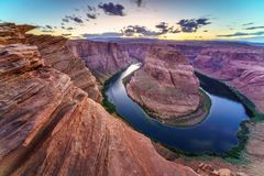 Horse Shoe Bend, Colorado River in Page, Arizona USA Stock Photos