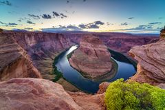 Horse Shoe Bend, Colorado River in Page, Arizona USA Stock Photo