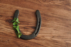 A horse shoe displayed with clovers Royalty Free Stock Photos