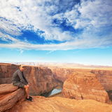 Horse Shoes. Man on the Horse-Shoe bend at Utah stock photos
