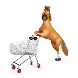 Horse with a shopping cart Royalty Free Stock Photography