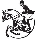 Horse show jumping emblem Equestrian sport. Equestrian sport . Horse show jumping emblem, logo, icon. Black and white vector Royalty Free Stock Photography