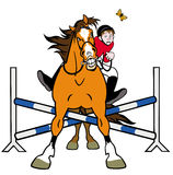 Horse showjumping caricature Royalty Free Stock Photos