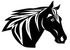 Horse silhouette. Black and white ilhouette of horse head Royalty Free Stock Photography
