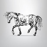 Horse silhouette of floral ornament Royalty Free Stock Photos
