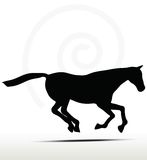 Horse silhouette in Gallop position. Horse silhouette in running position on white Stock Photos