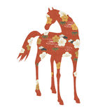 Horse silhouette of Japanese patterns Stock Images