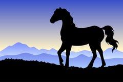 Horse silhouette landscape nature sunset sunrise illustration Royalty Free Stock Images