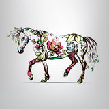Horse Silhouette Of Floral Ornament Stock Photos