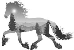 Horse. Silhouette of a running horse. inside the mountain landscape with pine forest, black and white Royalty Free Stock Photos