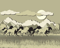 Horse silhouette on sunset background. Papercut style Stock Image