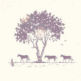 Horse silhouette and tree. Beautiful nature with amazing silhouette tree and horses. Vector illustration Royalty Free Stock Photography