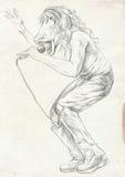 Horse Singer. An Hand Drawn Full Sized Illustration, Original. Stock Images