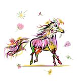 Horse sketch with floral decoration for your Royalty Free Stock Images