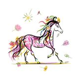 Horse sketch with floral decoration for your Royalty Free Stock Image