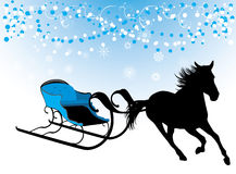 Horse with sledges. Composition for Christmas card Royalty Free Stock Image
