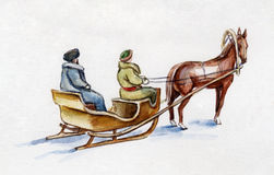 Horse sledging Royalty Free Stock Photos