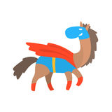 Horse Smiling Animal Dressed As Superhero With A Cape Comic Masked Vigilante Geometric Character Stock Images