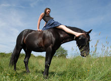 Horse and smiling teen Stock Photos