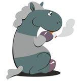 Horse smokes 007. Cartoon Horse smokes 007 Royalty Free Stock Photos