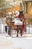Horse in the snow garage in Pomorie, Bulgaria stock photo