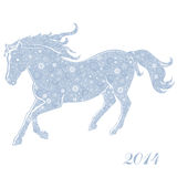 Horse of Snowflakes. Running Horse on white background. Merry Christmas and Happy new year. Greeting card stock illustration