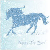 Horse of Snowflakes. Running Horse on white background. Merry Christmas and Happy new year. Greeting card royalty free illustration