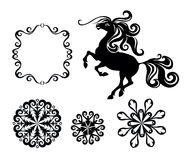 Horse and snowflakes Royalty Free Stock Photo