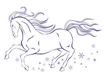 Horse and snowflakes. Shaped illustration of horse on white background Stock Image