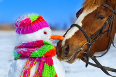 Horse and snowman. Portrait of horse and snowman in winter landscape Royalty Free Stock Photos